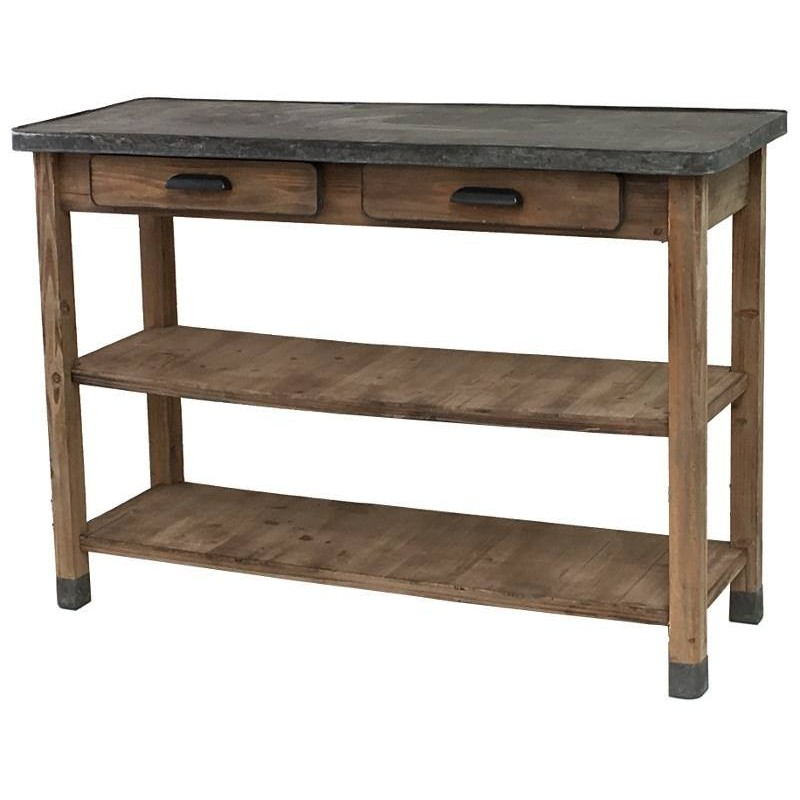 Console table drapier bois zinc bureau cuisine salon for Table de campagne en bois