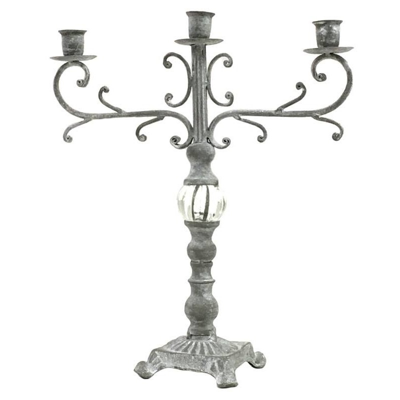 bougeoir chandelier fer fonte table verre ancien patine style provins. Black Bedroom Furniture Sets. Home Design Ideas