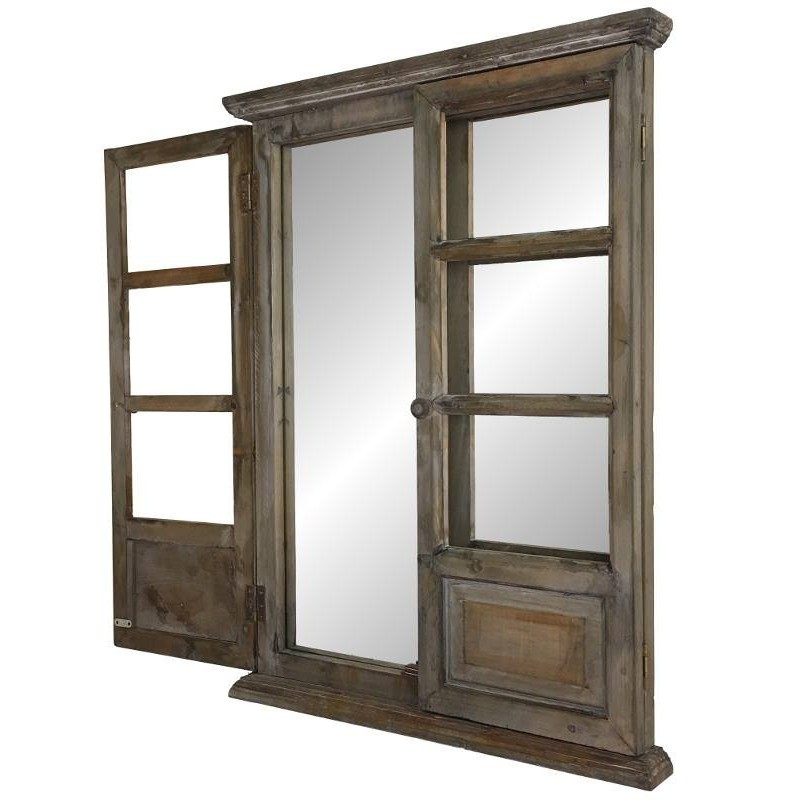 Grand miroir fen tre volet en bois ebay for Force de miroir ebay