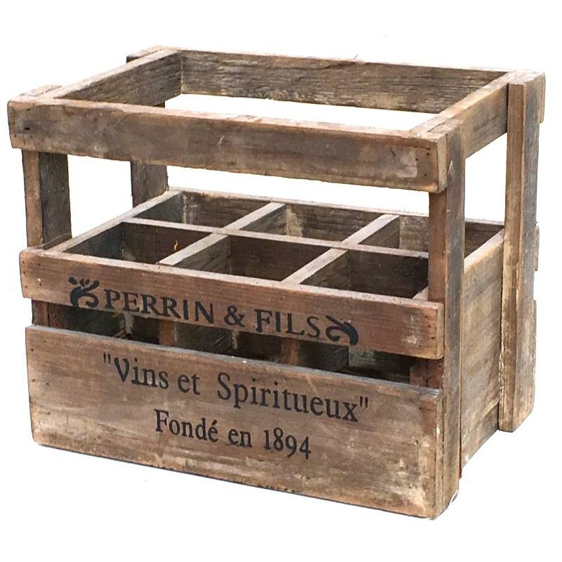 Caisse casier en bois de style ancien loading zoom with for Meuble porte bouteille vin
