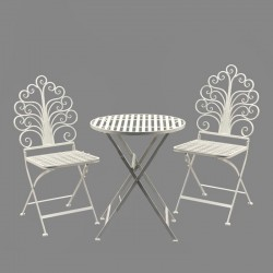 1 Table 2 chaises de jardin pliante pliable Fer Marron