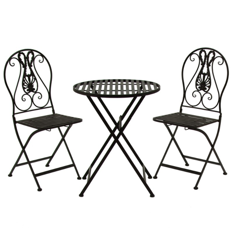 Ensemble Salon de Jardin 2 chaises 1 Table Marron Fer - Chemin de ...