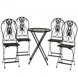 Ensemble Salon de Jardin 2 chaises 1 Table Marron Fer