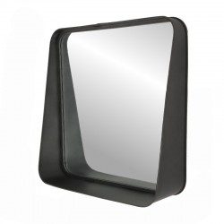 Grand Miroir Carré Tablette Murale Fer Métal Industriel 52 cm
