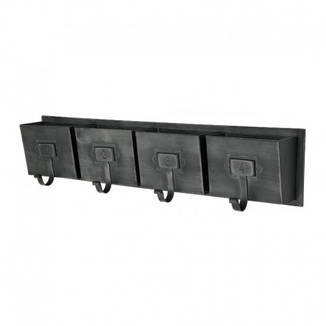 grand long porte manteau mural industriel fer m tal 66 cm. Black Bedroom Furniture Sets. Home Design Ideas