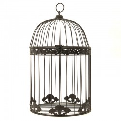 Cage de Décoration en Fer Porte Plante Suspension Marron 45 cm x 18 cm