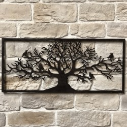 Grand Fronton 125 cm x 55 cm Décoration Murale Métal Fer Rectangle Arbre Oiseaux Marron