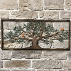 Grand 125 cm x 55 cm Fronton Décoration Murale Métal Fer Rectangle Arbre Oiseaux Colorée