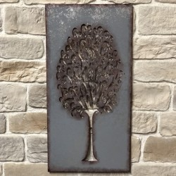 Grand 120 cm x 60 cm Fronton Décoration Murale Métal Fer Rectangle Arbre Zinc