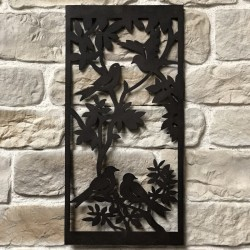 91 cm x 45 cm Fronton Décoration Murale Métal Fer Rectangle Arbre Oiseaux Marron