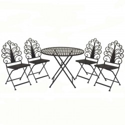 Ensemble Salon Table Chaises de Jardin Fer Pliable Blanc ø60 cm
