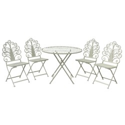 Ensemble Salon Table Chaises de Jardin Fer Pliable Marron ø90 cm