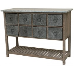 Console Meuble Table Bahut à Casier Bois Zinc