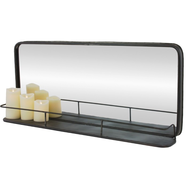 Miroir tablette tag re industriel long fer chemin de for Miroir en long