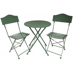 Salon de Jardin Bistrot Chaise Table de Jardin en Fer Pliable