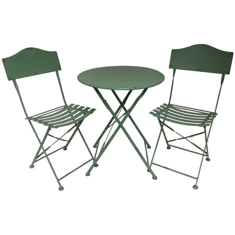 Salon table chaise jardin bistrot fer m tal pliable for Table de jardin bistrot