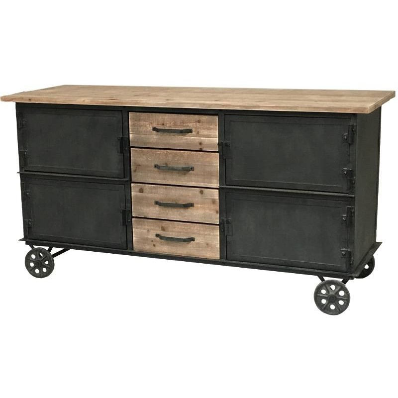buffet bahut console enfilade meuble cuisine roulettes bois fer ebay. Black Bedroom Furniture Sets. Home Design Ideas