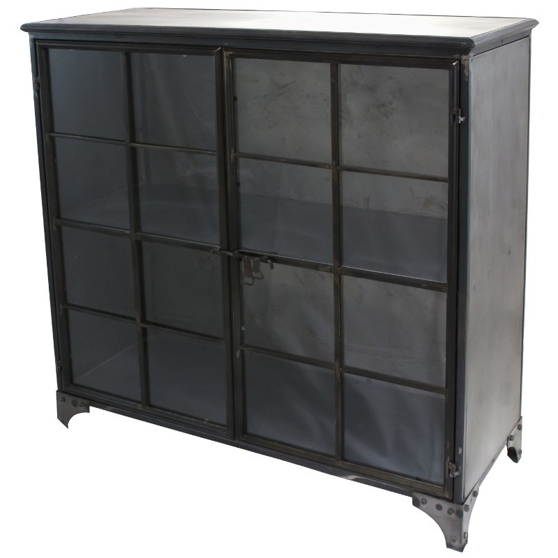 bahut buffet armoire vitr e style industriel fer m tal 100 cm. Black Bedroom Furniture Sets. Home Design Ideas