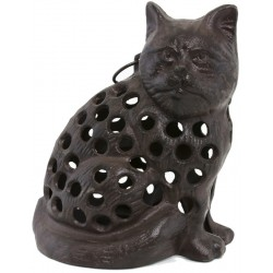Statue Chat Bougeoir Chandelier en Fonte