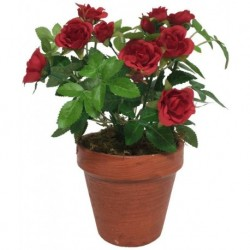 Grand Rosier Artificiel Rouge 23 cm