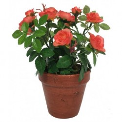 Grand Rosier Artificiel Corail 23 cm