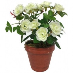 Grand Rosier Artificiel Blanc 23 cm