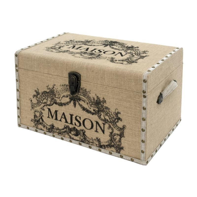 grand coffre grande malle de rangement bois toile de jute maison 50x32x31 cm ebay. Black Bedroom Furniture Sets. Home Design Ideas