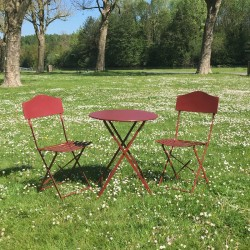 Table 2 Chaises de Jardin en Fer Pliable Salon de Jardin Bistrot Bordeau
