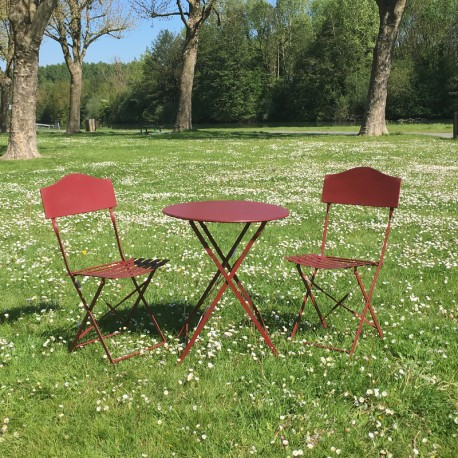 Table 2 Chaises De Jardin En Fer Pliable Salon Bistrot Bordeau