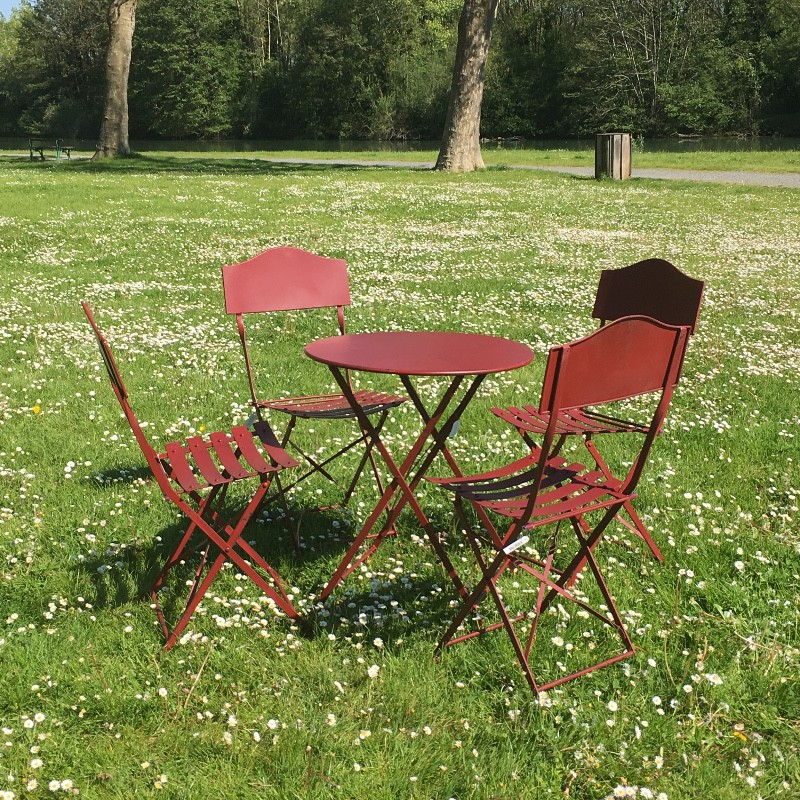Salon table 4 chaises jardin bistrot fer m tal pliable for Salon de jardin en fer