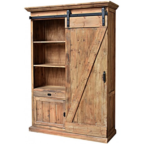 grande haute armoire biblioth que style campagne industriel bois pin recycl porte roulettes. Black Bedroom Furniture Sets. Home Design Ideas