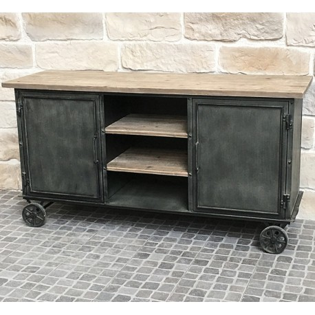Enfilade bahut buffet console meuble m tier atelir for Meuble fer industriel