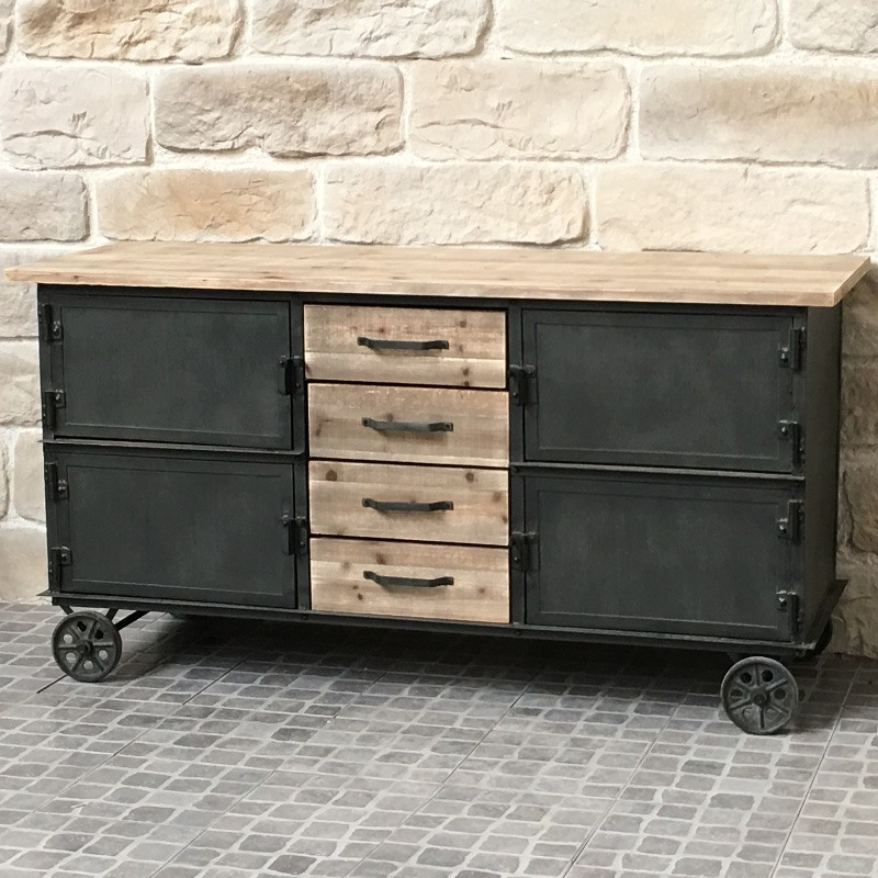 bahut buffet meuble roulettes industriel campagne fer et bois ebay. Black Bedroom Furniture Sets. Home Design Ideas
