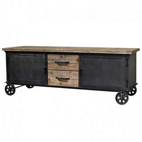 meuble t l tv de salon enfilade bahut roulette fer et bois. Black Bedroom Furniture Sets. Home Design Ideas