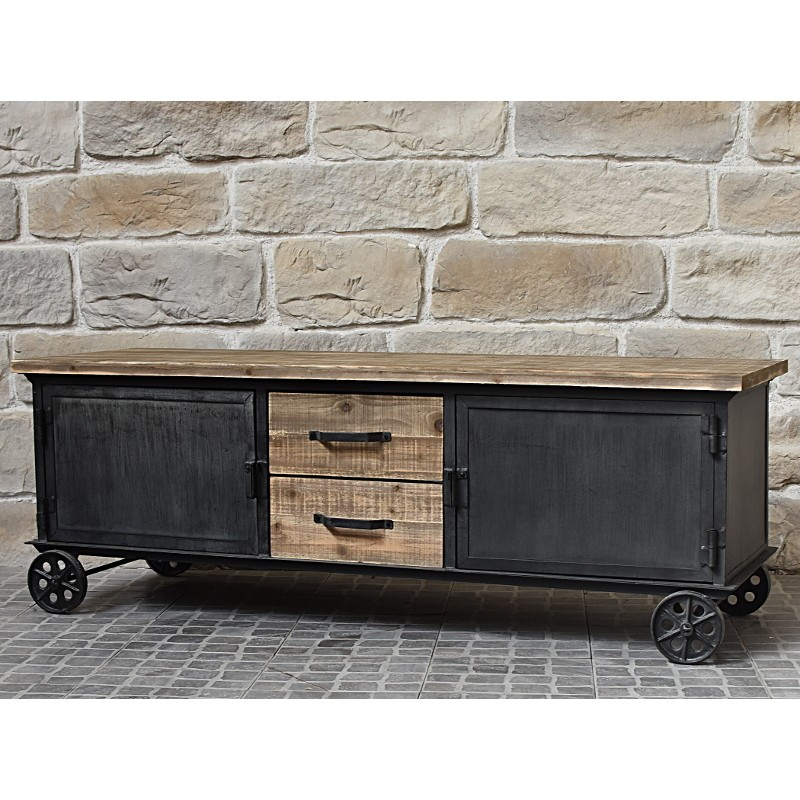 Meuble t l tv de salon enfilade bahut roulette fer et bois for Collection meuble industriel