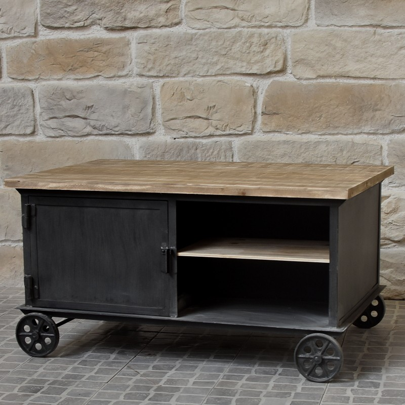 Table basse de salon fer metal bois chemin de campagne for Table en bois style campagne