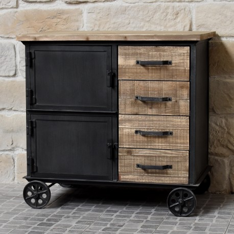 bahut enfilade commode bois fer chemin de campagne industriel. Black Bedroom Furniture Sets. Home Design Ideas
