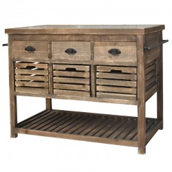 Meuble Ilôt Central Billot Console Bahut Buffet Table de Drapier à Tiroirs Cageots 122 cm