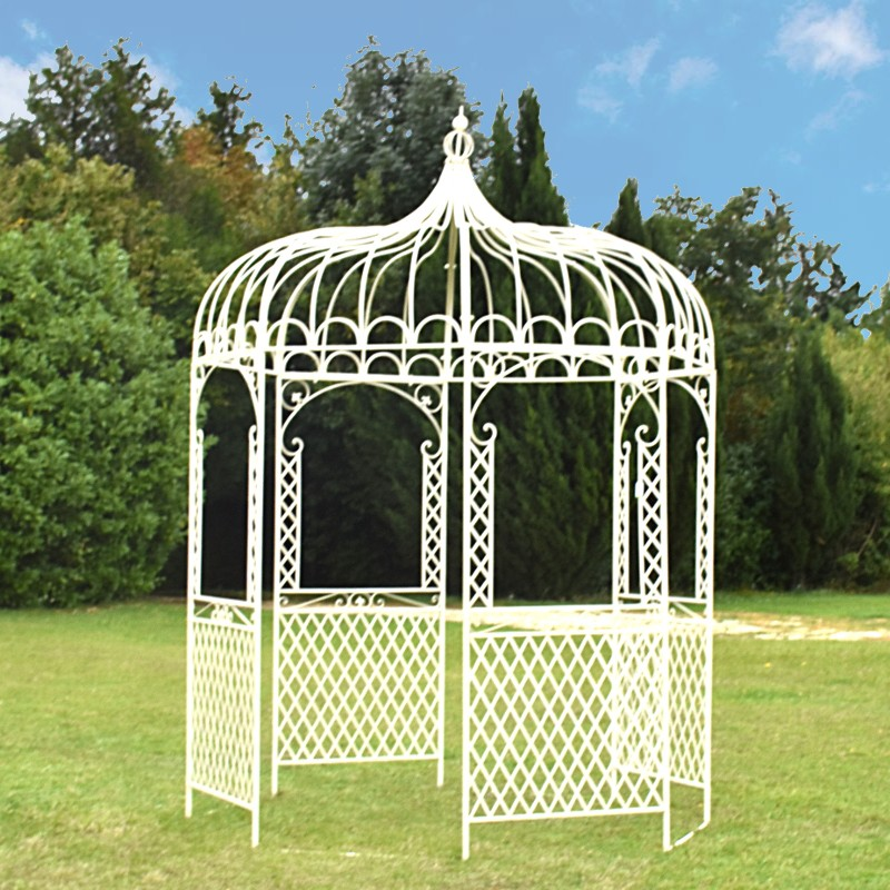 kiosque tonnelle pergola gloriette jardin d me fer blanc chemin de campagne. Black Bedroom Furniture Sets. Home Design Ideas
