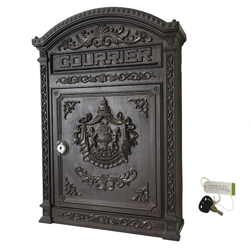 bo te aux lettres courriers antique ancienne murale fonte d 39 aluminium marron 45 cm chemin de. Black Bedroom Furniture Sets. Home Design Ideas