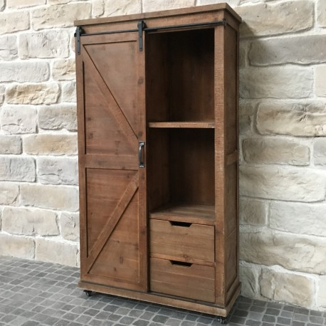 meuble armoire bahut tiroirs bois fer style industriel campagne 166 cm chemin de campagne. Black Bedroom Furniture Sets. Home Design Ideas