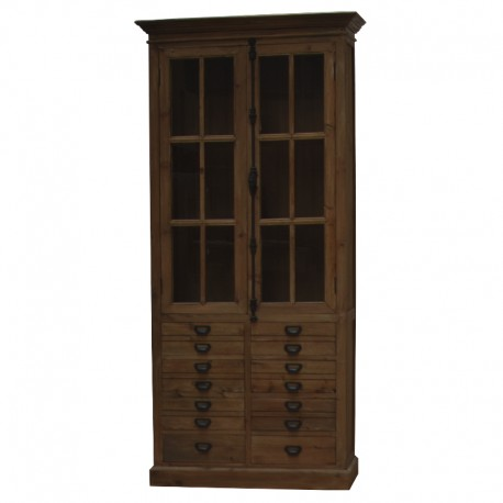 meuble haut biblioth que vaisselier bahut vitrine en bois tiroirs 230 cm chemin de campagne. Black Bedroom Furniture Sets. Home Design Ideas