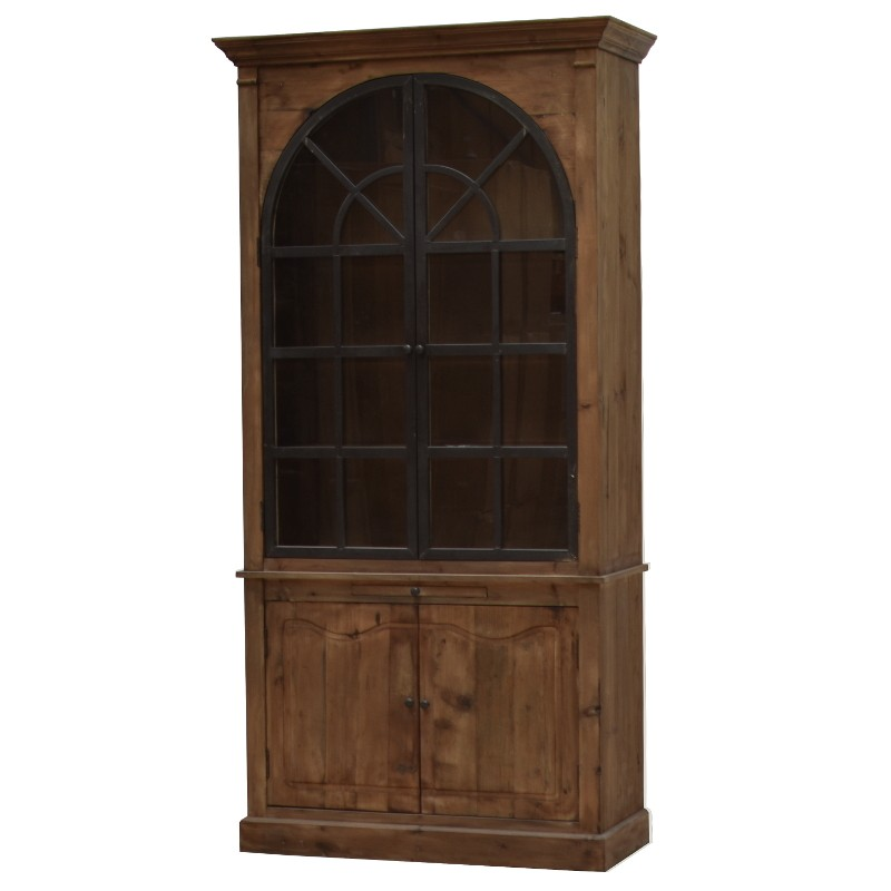meuble biblioth que vaisselier bahut vitrine en bois fer m tal 230 cm chemin de campagne. Black Bedroom Furniture Sets. Home Design Ideas