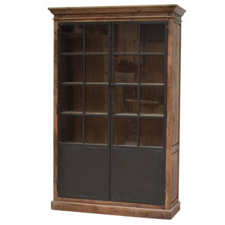 meuble vaisselier biblioth que bahut vitrine haut bois fer. Black Bedroom Furniture Sets. Home Design Ideas