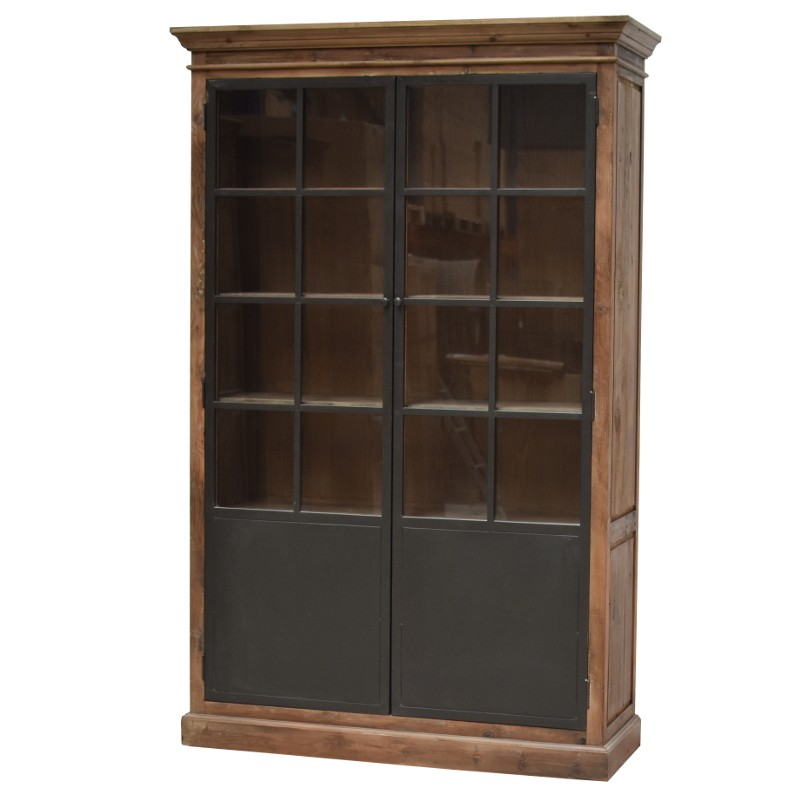 meuble vaisselier biblioth que bahut vitrine haut bois fer m tal 220 cm chemin de campagne. Black Bedroom Furniture Sets. Home Design Ideas