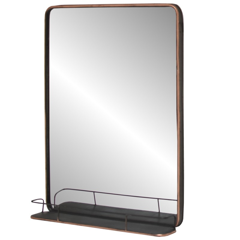 Grand miroir industriel tablette etag re mural fer m tal for Grand miroir metal